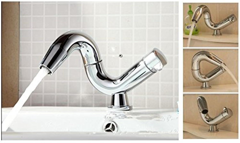UHM Kreative drehbare Messing heie und kalte Standmontage Chrom Waschbecken Wasserhahn Tippen Sie auf Mischpult