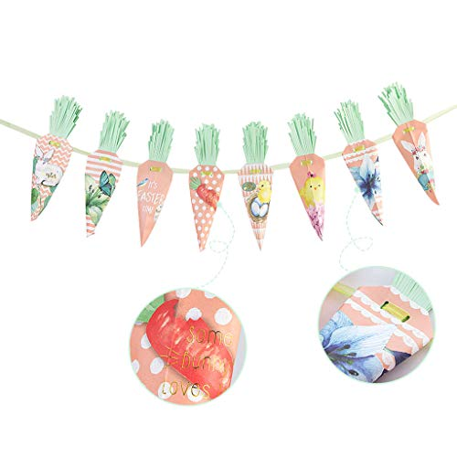 XUEHUA Easter Paper Carrot Shape Banners Bunting Garland Happy Easter for Easter Decor