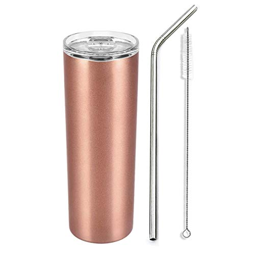 Kaffeebecher to Go Thermobecher Vakuumisolierte Edelstahl Becher 600ml Reiseflasche Doppelwandige Travel Mug mit Edelstahlstroh (Roségold)