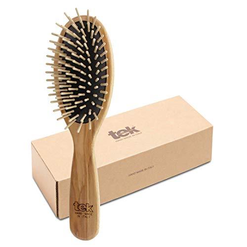 Tek cepillo para el pelo oval grande de madera de fresno con púa corta - Hecho a mano en Italia