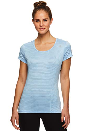Reebok Women's Dynamic Fitted Performance Short Sleeve T-Shirt - Navy Cosmos Heather, X-Small
