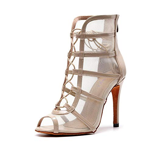JINGXINSTORE Damen Gesellschaftstanz Schuhe Latin Salsa Performance Tanzschuhe High Heel Beige,34 EU