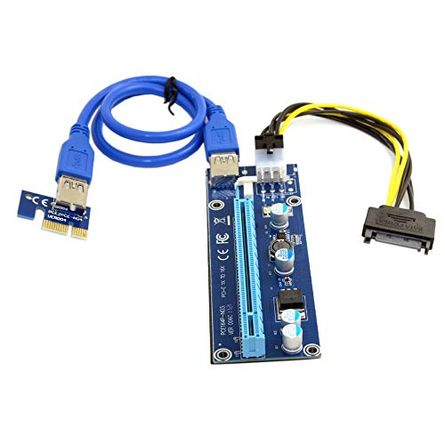 Cables PCI-E 1x to 16x Mining Machine Enhanced Extender Riser Adapter with USB 3.0 & 6Pin Power Cable - (US, Cable Length: 60CM)