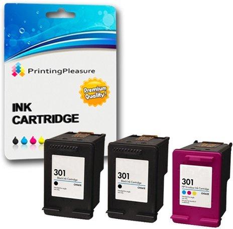 3 XL Compatibili HP 301XL Cartucce d'inchiostro Sostituzione per DeskJet 1000 1050 1050A 1050S 1055 2000 2050 2050A 2050S 2050se 2054A 2510 2540 3000 3010 3050 3050A 3050S 3050se 3050ve 3052A 3054A 3055A - Nero/Colore, Alta Capacità
