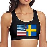 YBRB American Swedish Flag Damen Yoga Sport BH BH Tank Tops