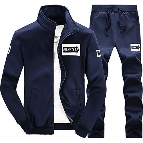 XIAOQSM Traje Deportivo para Hombres Primavera y otoño de Manga Larga Casual Ropa Deportiva Traje de Dos Piezas Azul Oscuro Dark Blue-M