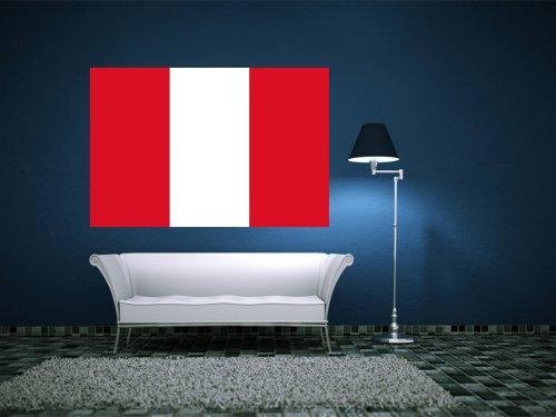 Kiwistar Wandtattoo Sticker Fahne Flagge Aufkleber Peru 120 x 80cm