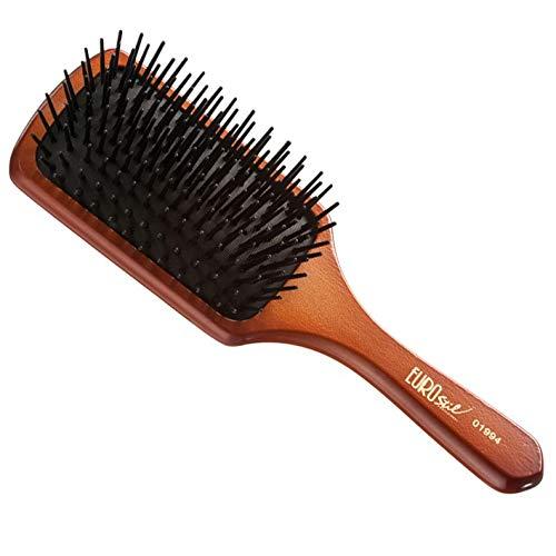 Eurostil Cepillo de pelo cepillo de madera con cerdas de plástico neumático Cepillo plano