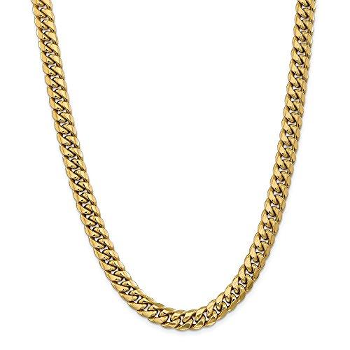 Halskette für Herren und Damen, 14 Karat Gelbgold, 9,3 mm, halbfest, Miami, kubanische Kette