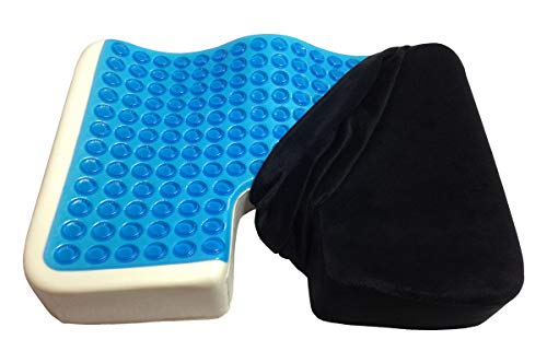 Kieba Coccyx Seat Cushion Cool Gel Memory Foam Large Orthopedic Tailbone Pillow for Sciatica Back and Tailbone Pain Black