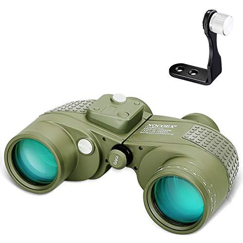 NOCOEX 10X50 Marine Fernglas für Erwachsene Wasserdicht mit Kompass Nebelgeschütztes BAK4 Prisma Objektiv Militärfernglas für die Navigation Vogelbeobachtung und Jagd, mit Stativadapter