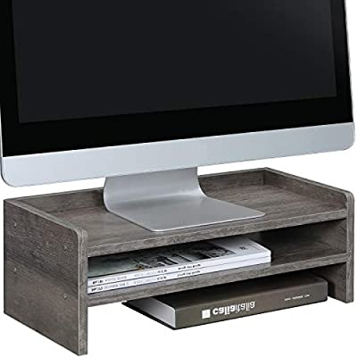 OROPY Wooden Monitor Stand Screen Riser, 2 Tier Desktop Storage Organiser for TV, Computers, Laptops, Designed for Home or Office,42 x 24 x 16cm