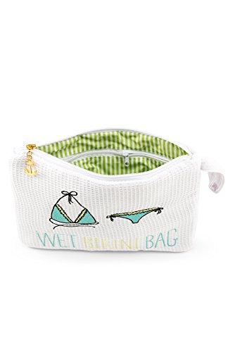 Damen Bestickter Waffel Wet Bikini Bag Weiß