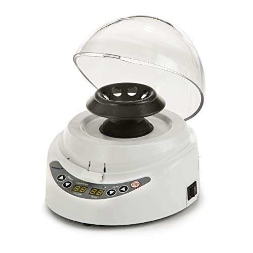 Mini Desk-top Centrifuge Set, Digital, High-Speed from 3000 RPM to 10000 RPM, 2 Rotors for 8 x 2.0/1.5 ml and 2 x 8-Strip PCR Tubes, 2 Sets of Adapters for 0.2ml and 0.5ml Tubes, 110V (Natural Color)