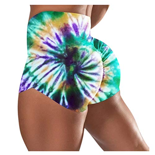 Leggings Yoga Shorts Capri Femmes Basique Slip Bike Shorts Compression Workout (XL,3Vert)