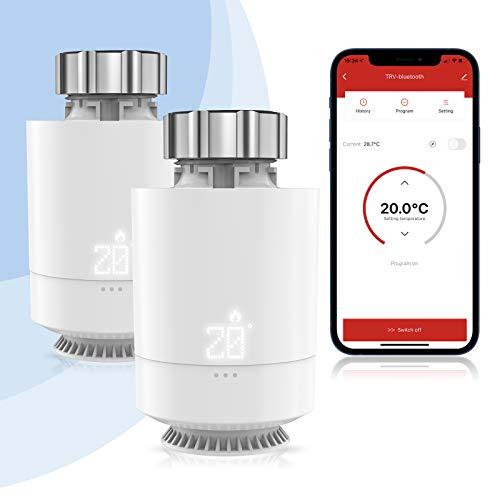Etersky Smarter Heizkörperthermostat, WLAN Heizung Thermostat Kompatibel mit Alexa und Google Home【2.4Ghz WiFi und Gateway erforderlich】 LCD-Anzeige, M30 * 1,5 mm