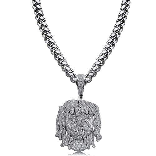 LC8 Jewelry Hip Hop Rapero Exquisita figura colgante de cadena de eslabones cubanos de lujo para hombres y mujeres, chapado en oro blanco
