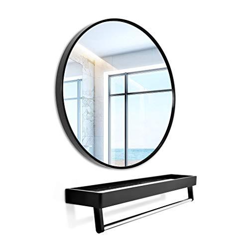 JING Aluminium Salle de Bains Miroir, Toilettes Miroir Rond, Mural Toilettes Non perforé Salle de Bains Miroir avec étagère (40 cm de diamètre)