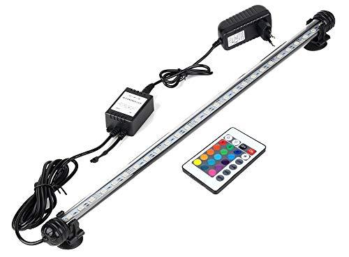 Hoonee 58cm Luce per Acquario, Cambio di Colore - Telecomando, Impermeabile - Luce per Acquario sommergibile, Sfondo a Strisce di luci a LED Decorare