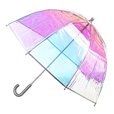 totes Kids Clear Bubble Umbrella with Easy Grip Handle, Iridescent