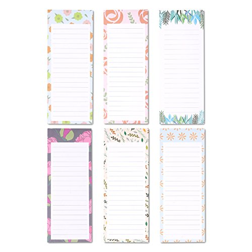 Magnetic To Do List Notepads, Floral Design (60 Sheets, 6-Pack)