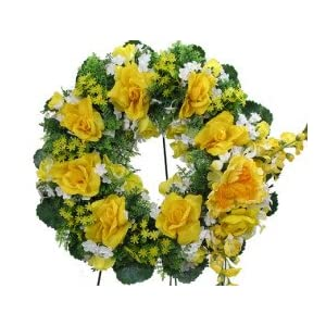 Deluxe Silk Floral Wreath in Yellow for Grave-site Presentation in Remembrance of Loved Ones. Easel Mounted