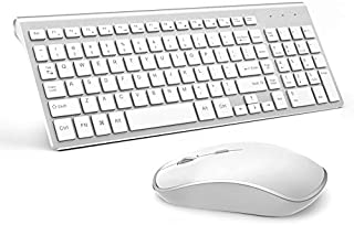 Wireless Keyboard and Mouse,JOYACCESS USB Slim Wireless Keyboard Mouse with Numeric Keypad Compatible with iMac Mac PC Laptop Tablet Computer Windows (Silver White)