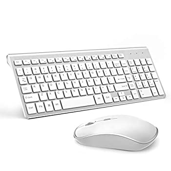 Wireless Keyboard and Mouse J JOYACCESS USB Slim Wireless Keyboard Mouse with Numeric Keypad Compatible with iMac Mac PC Laptop Tablet Computer Windows  Silver White