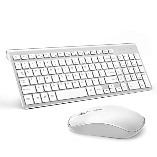 Wireless Keyboard and Mouse, J JOYACCESS USB Slim Wireless Keyboard Mouse with Numeric Keypad Compatible with iMac Mac PC Laptop Tablet Computer Windows (Silver White)