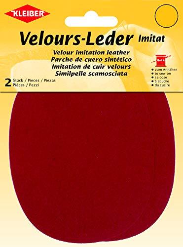 Kleiber - Rodilleras/Coderas ovaladas de Antelina, para coserlas, 12,5 x 10 cm, Color Rojo