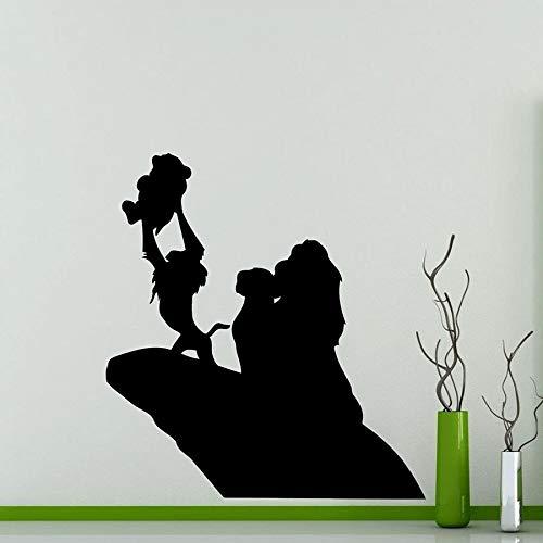 HGFDHG Rey León Silueta Pegatina de Pared Dibujos Animados Vinilo calcomanía hogar jardín de Infantes habitación de niños Interior Arte Decorativo Mural