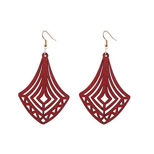 Pendientes Holiday Hollow Geometric Wood Dangle Pendientes para Mujer Trendy Lady Long Drop EarringsRed