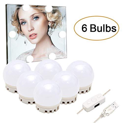 SZILBZ LED Spiegelleuchte,Spiegellampe,Hollywood-Stil Schminklicht,Spiegel Make-UP Licht für Kosmetikspiegel/Badzimmer Spiegel (6 Led-lampen)