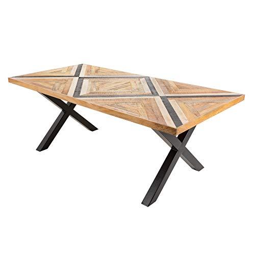 Industrial Esstisch Long Island 160cm Mangoholz mit schwarzem X-Gestell Konferenztisch Tisch