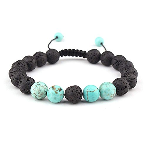 Celokiy Adjustable Lava Bead Stone Anxiety Diffuser Oil diffuesr Bracelet Women with Turquoise - Meditation,Relax,Healing,Aromatherapy