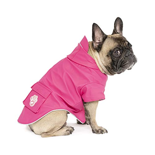 "Canada Pooch | Torrential Tracker Dog Raincoat | Waterproof Dog Jacket - Pink, 14 (13-15"" Back Length)"