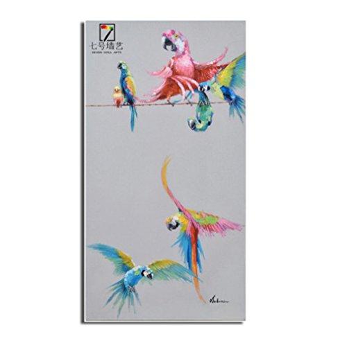 Variopinto pappagallo mano pura dipinto a mano olio pittura moderna cornice decorativa
