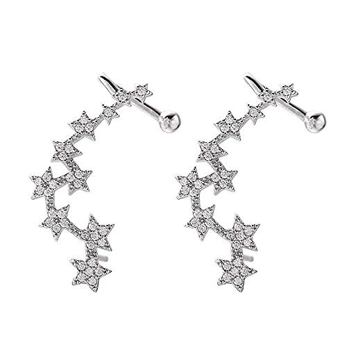 Star Climbers - Pendientes de plata de ley 925 con circonita cúbica para mujer y niña, hipoalergénicos, para orejas sensibles, regalo para cumpleaños