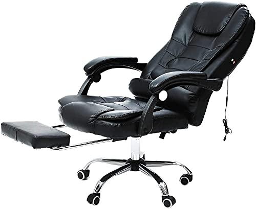 sedia ufficio ergonomica massaggiante CO-Z Sedia Ufficio Girevole Poltrona da Massaggio Sedia per Scrivania con Altezza Regolabile Sedia Ergonomica in PU con Ruote Rotazione Sedia Reclinabile Capacità 130kg (con Poggiapiedi)