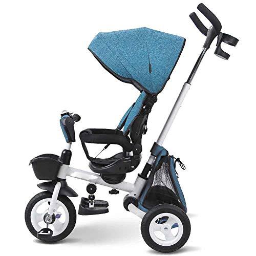 JIAXIAO Ship Baby kinderwagen Britse kinderen driewielige fiets vouwen baby 1-3-5 jaar oude staaf fiets rijder eer blauw, met paraplu schuur, handdruk
