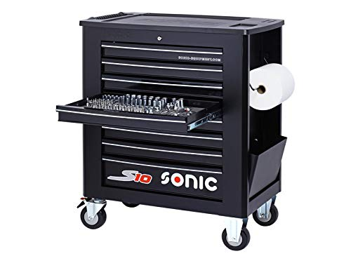 Sonic Werkstattwagen S10 gefüllt, 391- teilig,Schaum, schwarz