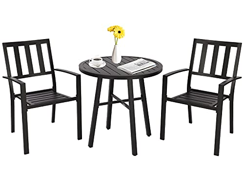 Bistro Set 2 for Garden, Metal Patio Garden Furniture Set with 2-Seater, Garden Round table and 2 Armchairs for Outdoor Backyard Porch Poolside Lawn Balcony