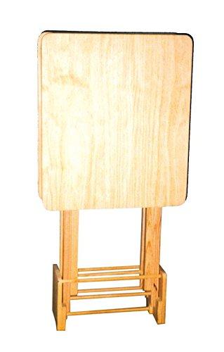 Bijzettafelset van 2 met standaard grenenhout, natuurlijke kleuren om te decoreren. Afmetingen (B x D x H): 48 x 41 x 85 cm. Afmetingen geopend: 48 x 41 x 60 cm.