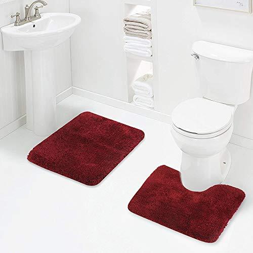 Walensee Shaggy 2 Piece Bath Rug Sets (Red) 20 x 24 U Shape Contour Rug & 20 x 32 Bathroom Rug Machine Wash/Dry Bath Mats for Bathroom Plush Absorbent Bathroom Rugs and Mats Set Non Slip