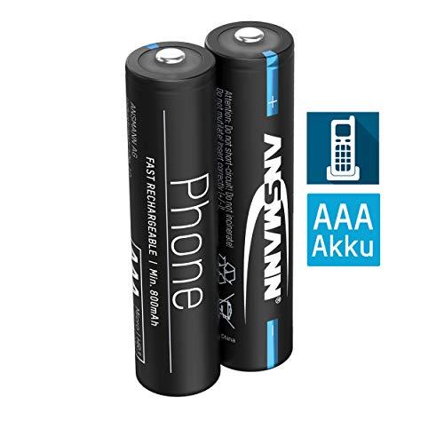 ANSMANN Telefon Akku AAA 800mAh NiMH 1,2V - Phone DECT Micro AAA Batterien wiederaufladbar mit geringer Selbstentladung ideal für Schnurlostelefone und Babyphones (2 Stück)