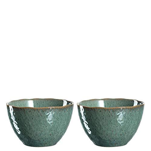 Leonardo Schale Matera 2-er Set, 15,3 cm, 2 Keramik Schalen, spülmaschinengeeignet, mit Glasur grün, 026986