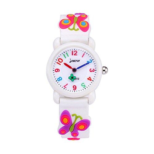 BESPORTBLE 3D Cartoon Uhr Nette Schmetterling Kinder Quarzuhr Silikonkautschukband Armbanduhr Student Zeit Uhr Armbanduhr für Jungen Mädchen (weiß)