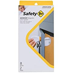 This toddler tested, proven stronger Safety 1st door safety lock system installs discreetly and invisibly behind drawers and cabinet doors and unlocks with a magnetic key that can be stored safely out of reACh Disengage the child safety lock with the...
