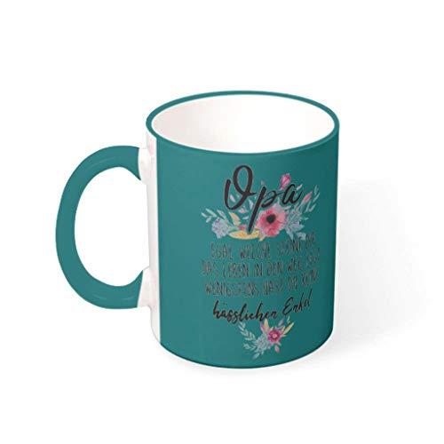 O2ECH-8 11 Oz Blume Qpa Becher Tasse Hochwertige Keramik Personal Becher - Lustige Geschenke Mädchen Gegenwart Teal 330ml
