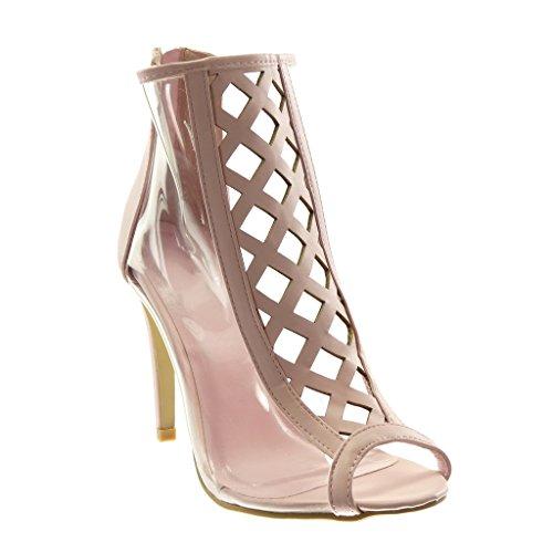 Angkorly - Damen Schuhe Stiefeletten - Stiletto - Peep-Toe - schick - transparent - gekreuzte Riemen Stiletto high Heel 10.5 cm - Rosa 238-7 T 39
